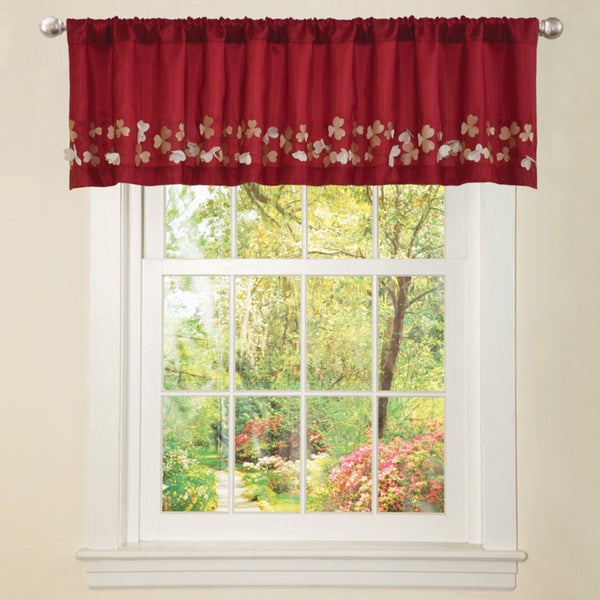 Lush Decor Red Faux Silk Flower Drop Window Valance