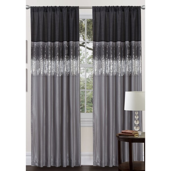 Lush Decor Black/Grey Faux Silk 84-inch Night Sky Curtain Panel
