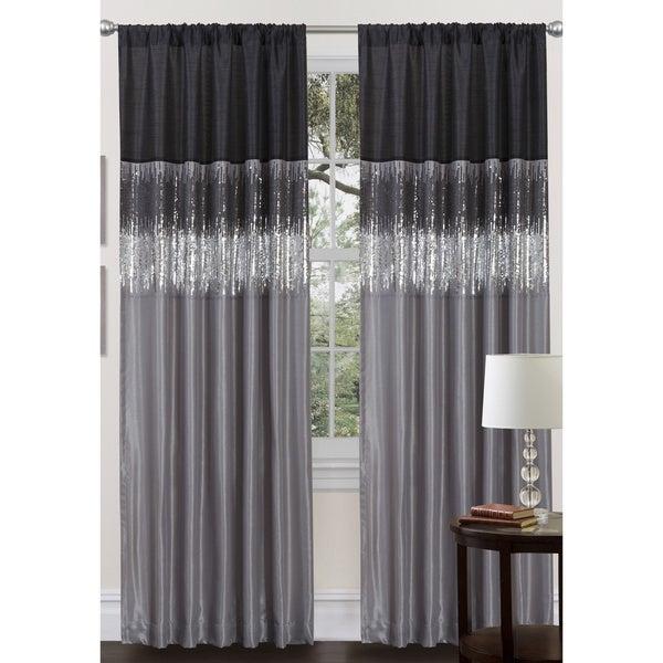 Lush Decor Black Grey Faux Silk 84 Inch Night Sky Curtain