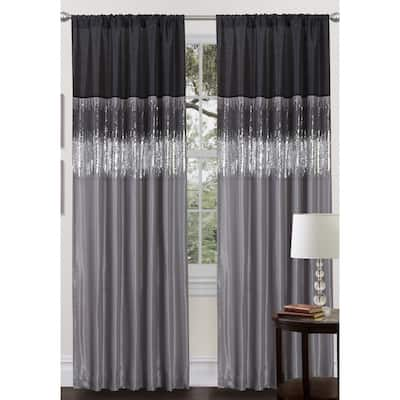 Silver Orchid Page Two-tone Faux Silk Single Curtain Panel