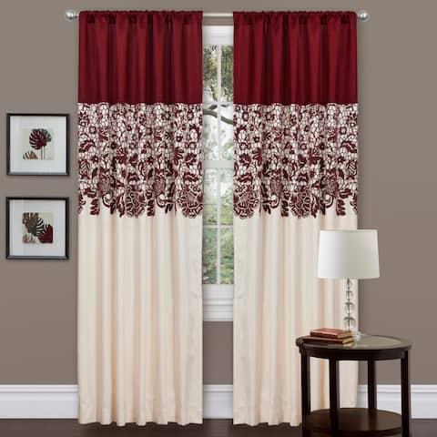 "Lush Decor Red Faux Silk 84-inch Estate Garden Curtain Panel - 54""w x 84""l"