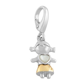 Fremada Sterling Silver and 14k Gold Mother of Pearl Girl Charm