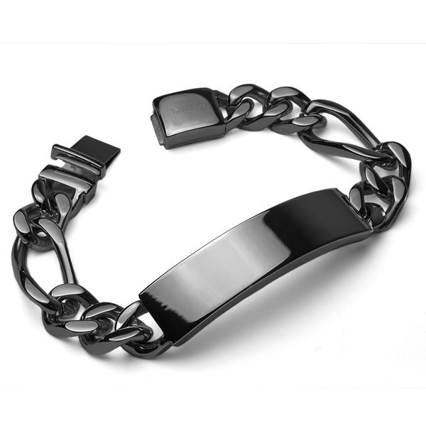 Crucible Men's Stainless Steel Figaro Chain ID Bracelet