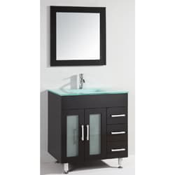 Glass Top 32-inch Single Sink Bathroom Vanity with Mirror