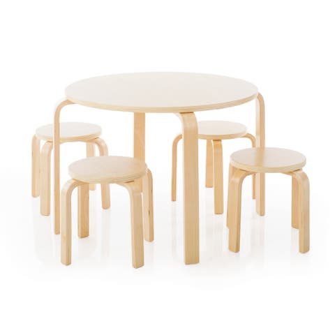 Guidecraft Nordic Table and Natural Chairs Set - N/A