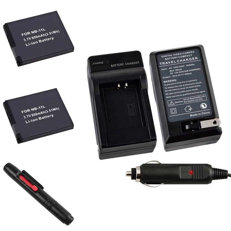 INSTEN Charger/ Black Li-Ion Battery/ Lens Cleaning Pen Kit for Canon NB-11L