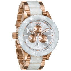 Nixon Men's Rose-gold and White Granite 42-20 Chronograph Watch