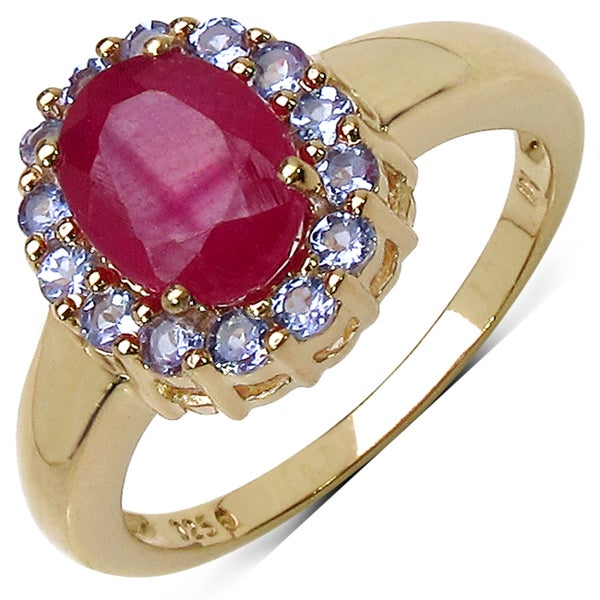 Malaika Yellow Gold overlay Sterling Silver Tanzanite and Ruby Ring