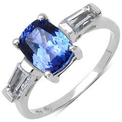 Malaika Sterling Silver Tanzanite and White Topaz Ring