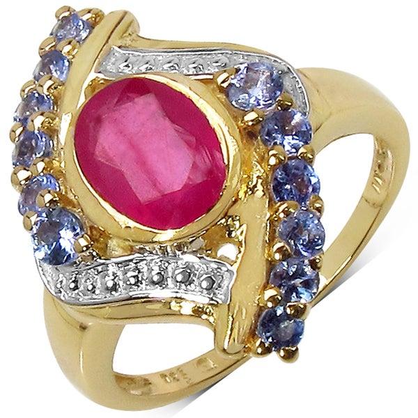 Malaika Sterling Silver Yellow Gold Overlay Ruby and Tanzanite Ring