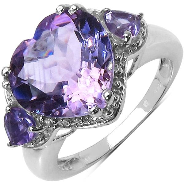 Malaika Sterling Silver Purple Amethyst Heart Ring