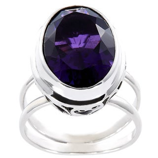 Handmade Faceted Amethyst and Sterling Silver Filigree Bali Ring (Indonesia)