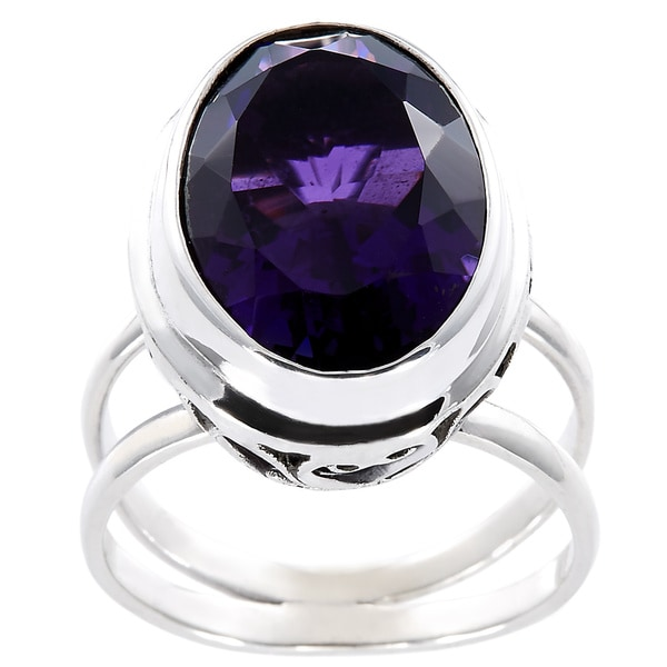 Handcrafted Faceted Amethyst and Sterling Silver Filigree Bali Ring (Indonesia)