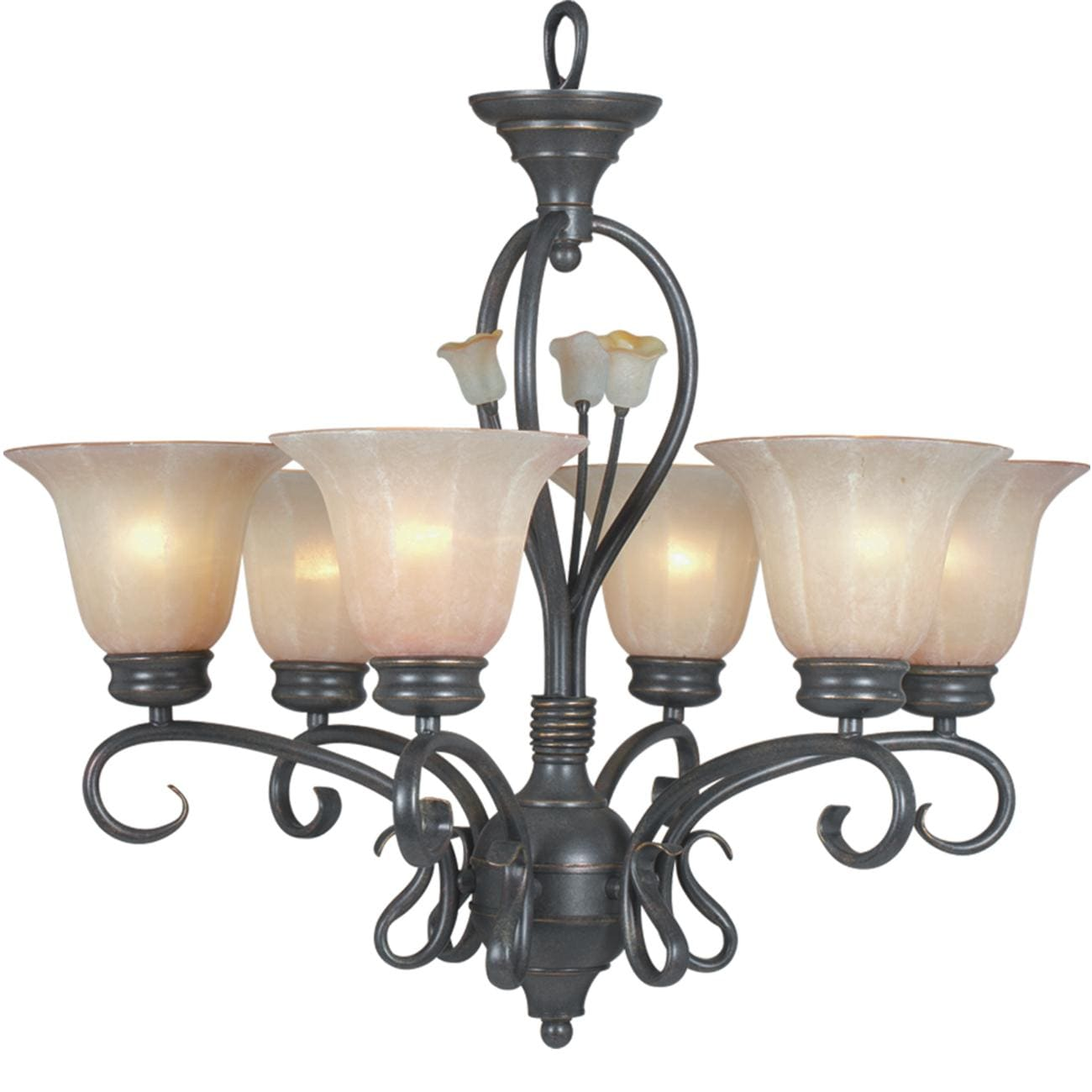 Silver Bronze 6-light Chandelier - Thumbnail 0