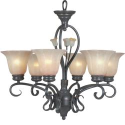 Silver Bronze 6-light Chandelier - Thumbnail 1