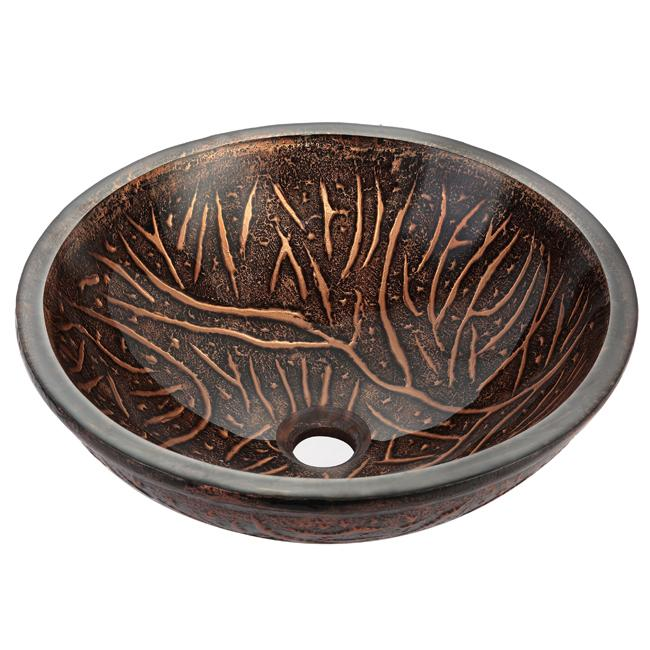 Kraus Cooper Forest 19mm Thick Glass Vessel Sink