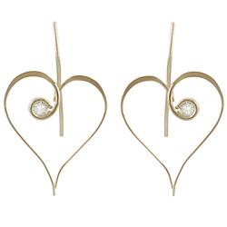 Journee Goldfill and Alloy CZ Heart Earrings