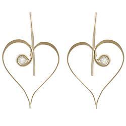 Journee Goldfill and Alloy CZ Heart Earrings