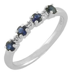 Sterling Silver Blue Sapphire and Diamond Accent Ring