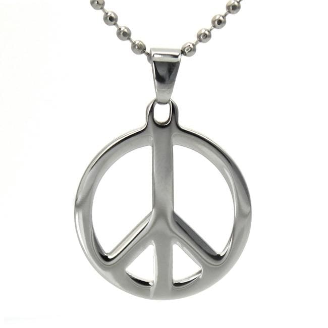 West Coast Jewelry Stainless Steel Polished Peace Sign Necklace