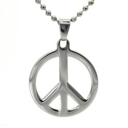 West Coast Jewelry Stainless Steel Polished Peace Sign Necklace - Thumbnail 0
