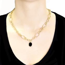 Adee Waiss 18k Yellow Gold Overlay Black Agate Oval Link Necklace