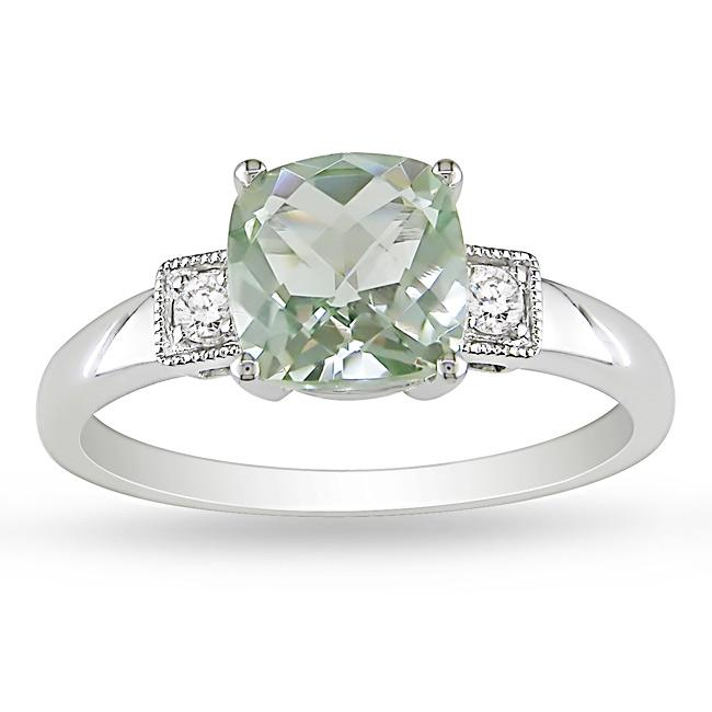 Miadora 10k White Gold Green Amethyst and Diamond Ring - Thumbnail 0