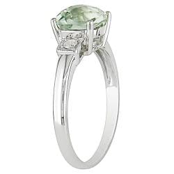 Miadora 10k White Gold Green Amethyst and Diamond Ring - Thumbnail 1