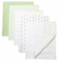 Piccolo Bambino Green Cotton Receiving Blankets (Pack of 5) - Thumbnail 1