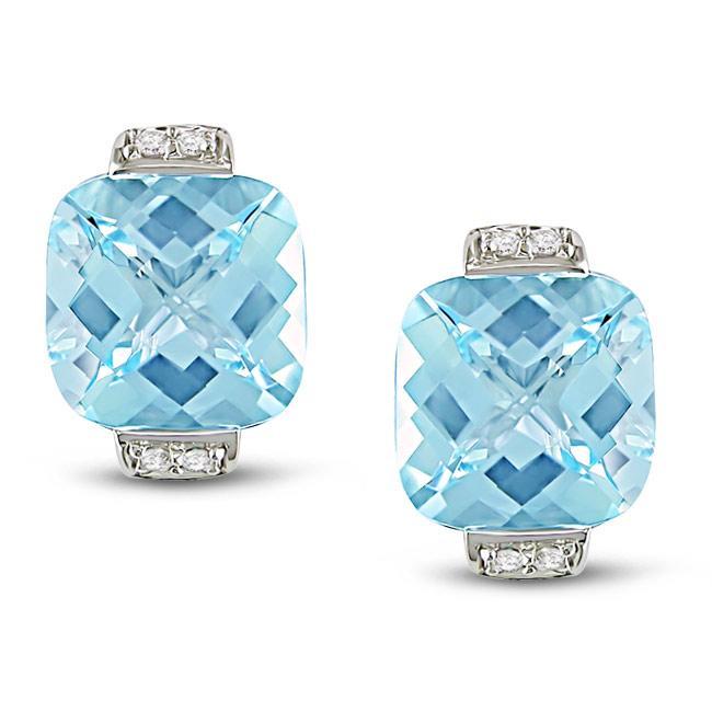 Miadora 10k White Gold Blue Topaz and Diamond Earrings