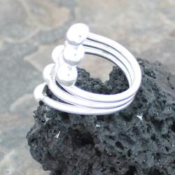 Sterling Silver Wide 6-row Beaded Ring (Mexico)