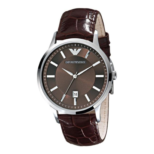 Emporio Armani Classic Mens Brown Leather Strap Watch
