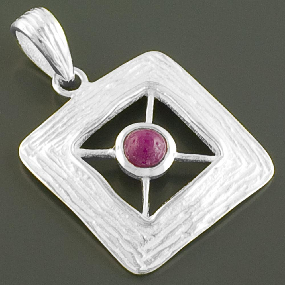 Sterling Silver Ruby Textured Pendant (India)