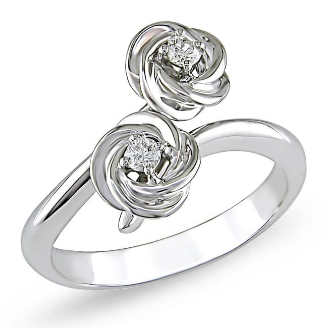 Miadora 18k White Gold 1/10ct TDW Diamond Flower Ring
