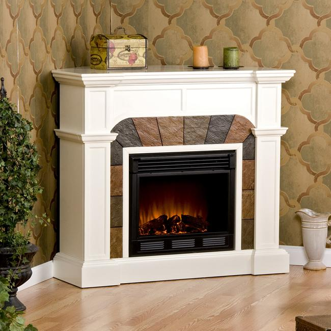Hollandale Ivory Electric Fireplace