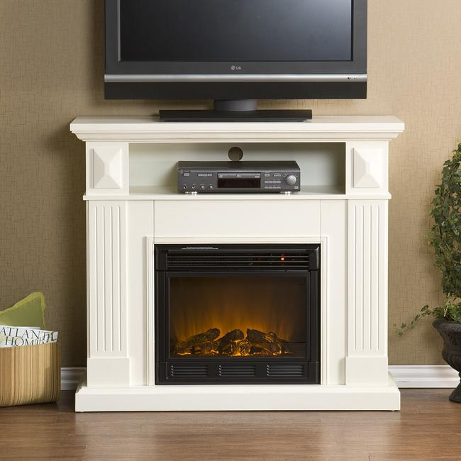 Raines Ivory Media Console Electric Fireplace Free