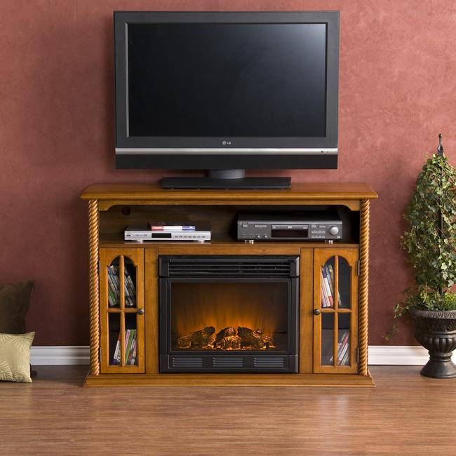 Peyton Pine Media Console Electric Fireplace Free