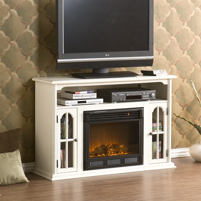 Peyton White Media Console Electric Fireplace Free