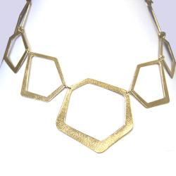 Adee Waiss 18k Yellow Gold Overlay Geometric Link Necklace - Thumbnail 1