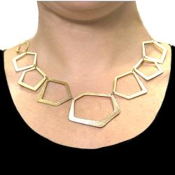 Adee Waiss 18k Yellow Gold Overlay Geometric Link Necklace - Thumbnail 2