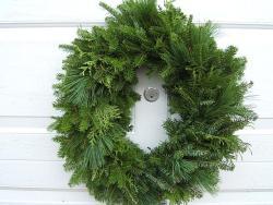 Fresh Balsam 24-inch Mixed Greens Wreath - Thumbnail 1