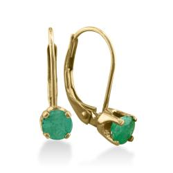 14k Yellow Gold Emerald Leverback Earrings