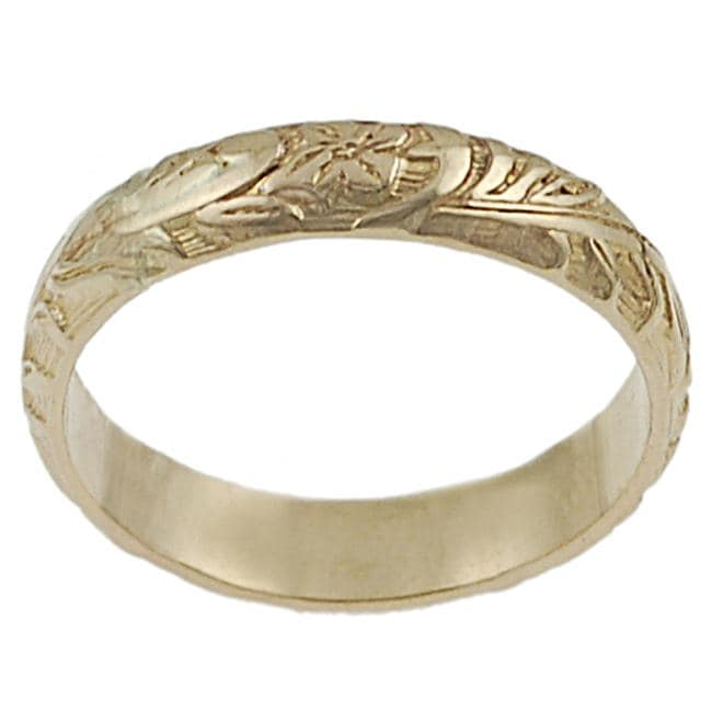 Goldfill Etched Flower Band Ring