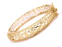 14k Goldplated Filigree Hinged Bangle Bracelet (Mexico)