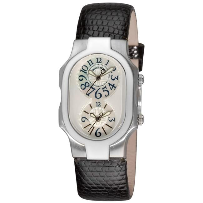 Philip Stein Women's 'Signature' Black Strap Dual Time Watch - Thumbnail 0