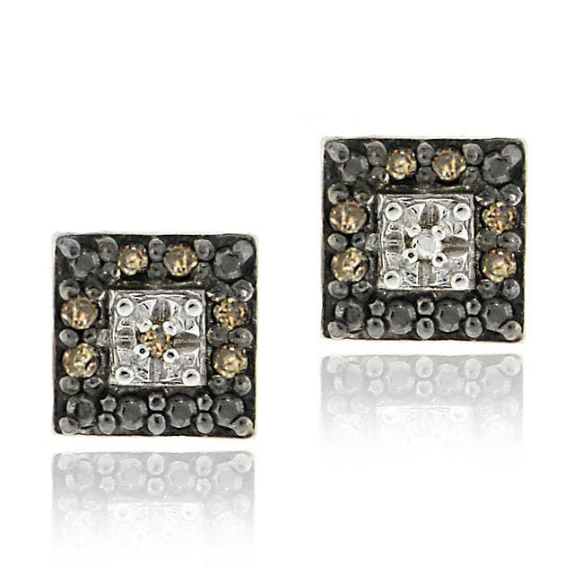 DB Designs Sterling Silver Brown Diamond Square Earrings