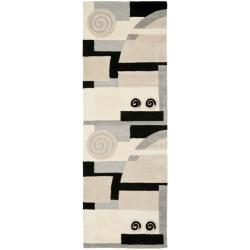 Safavieh Handmade Rodeo Drive Modern Abstract Ivory/ Grey Wool Runner Rug (2'6 x 14')