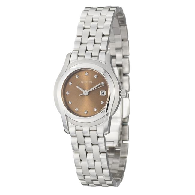 be9cef738f0 Shop Gucci Women s  5500L  Stainless Steel Quartz Diamond Watch - Free  Shipping Today - Overstock - 5400603