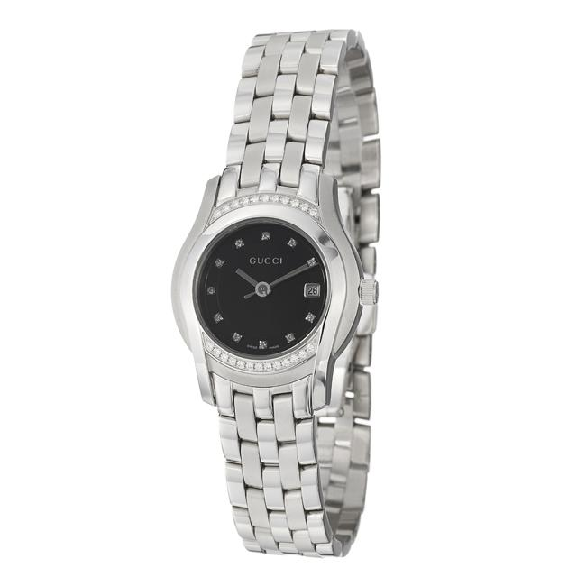 47f9612920e0ae Shop Gucci Women s  5500L  Stainless Steel Quartz Diamond Watch - Free  Shipping Today - Overstock - 5400604