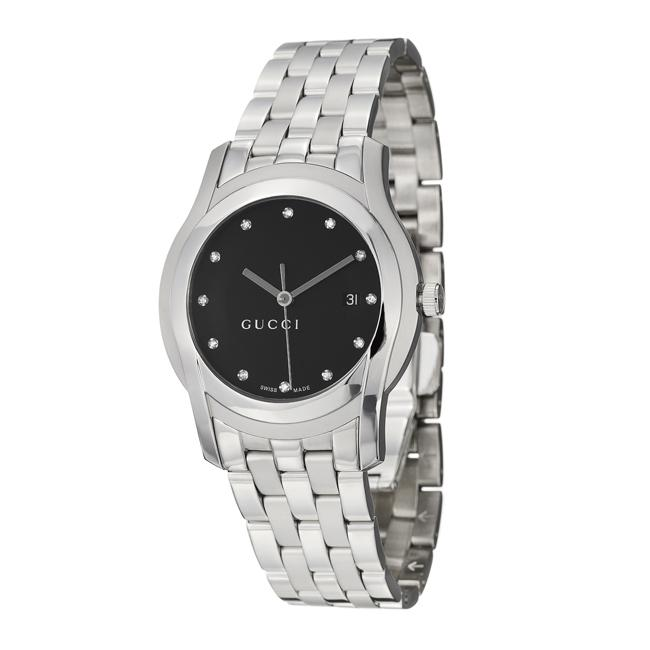 8aa6f0f4296 Shop Gucci Men s  5500Xl  Stainless Steel Quartz Diamond Watch - Free  Shipping Today - Overstock - 5400605